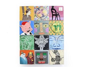 mixed media assemblage, BLOCKHEADS, cubes, pop art, 12 folk art portraits original art by Elizabeth Rosen