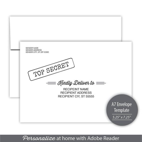 Top Secret A Envelope Template Instant Download
