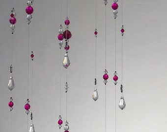 Small Pink Bling Nursery Decor Baby Room Idea Girl Mobile Suncatcher Xmas Gift Hanging Garland Swarovski Crystal Chandelier Housewarming