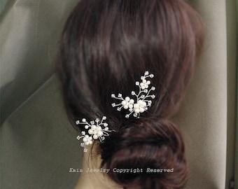 2 Bridal Hair Pin Set, Pearls Hair Accessories, Light Ivory White Swarovski Pearl Rhinestone Clear Crystal Silver Wedding  H004  -