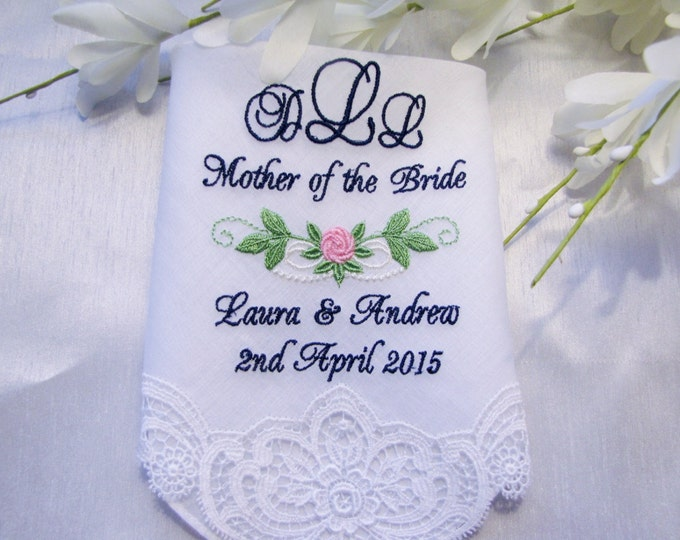 Mother of the Bride or Mother of the Groom Personalized Wedding Handkerchief with Rose Detail