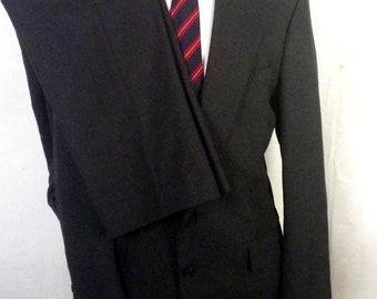 euc Stafford Charcoal Wool Blend 2 Pc Business Suit sz 42 L