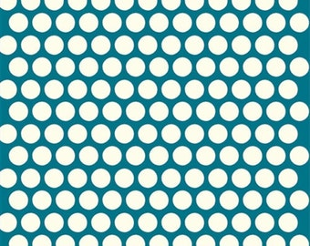 Birch Dottie Cream Teal Organic Cotton Fabric