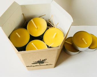Natural Beeswax Tealights x8 - 100% Pure Beeswax in Eco Packaging