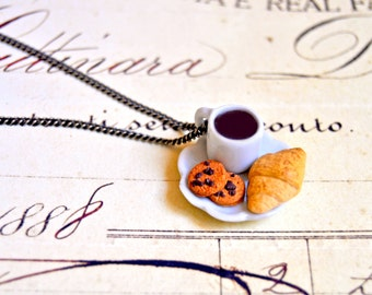 Handmade miniature polymer clay coffee mug and croissant necklace - miniature food jewelry, coffee necklace, croissant jewelry