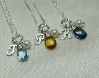 Bridesmaid Necklace Set of 3 Spring Bridesmaid Jewelry Personalized Bridesmaid Gift Gemstone Birthstone Necklace Initial Necklace