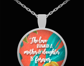 Mother and Daughter Pendant, Silver necklace, Mothers Day gift, Daughter gift, Gift from Daughter, Gift from Mother, Floral Design
