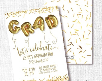 Graduation Party Invitation, Printable, Gold Foil Balloon Invite, Cooleege Grad, High School Grad, Grade School, Gold Confetti, Modern, 8th
