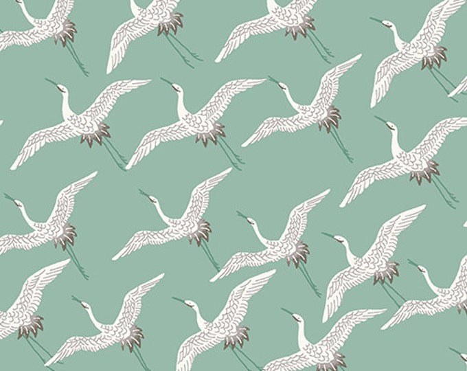 Asami - Cranes in Turquoise by Makower UK for Andover Fabrics - Quilting Cotton Fabric