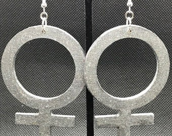 Sparkly Silver Venus Symbol Earrings
