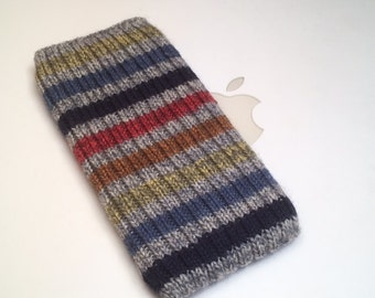 Hand Knit iPhone / iTouch Cozy Case - Blue Jean Baby Design