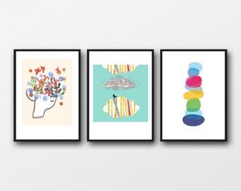 Wall Art for kids, set of 3 prints, Children's wall art, gift for children, girls room decor, nursery art prints