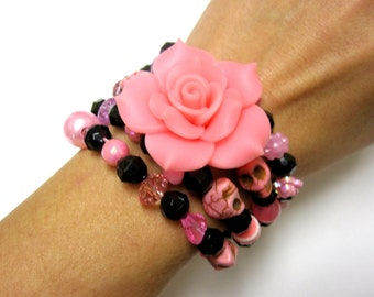 Sugar Skull Bracelet Day Of The Dead Jewelry Wrap Black Pink