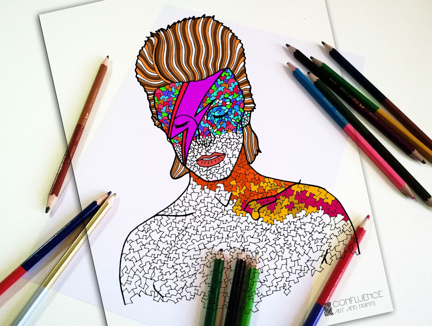 Colouring Pages Pdf For Adults : Adult coloring pages coloring for adults david bowie