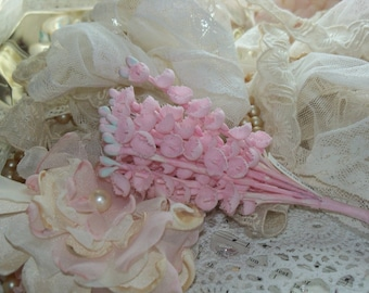 Vintage Millinery Flowers-Lily of the Valley-Pink-Hats-Easter-Derby-Supplies