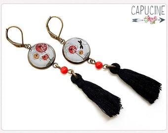 Dragonfly earrings - Chandelier earrings - Tassel earrings - Glass dome dandelion earrings