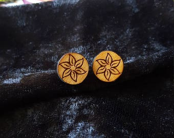 Laser etched wood earrings