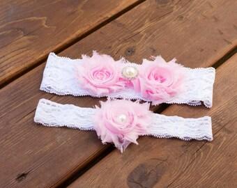 Pink Wedding Garter Set, Lace Wedding Garter Set, Bridal Garter Set, Flower Garter Set, Vintage Garter Set, Shabby Chic Garter