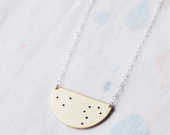 Zodiac Constellation Necklace in Sterling Silver, Semi Circle Shape