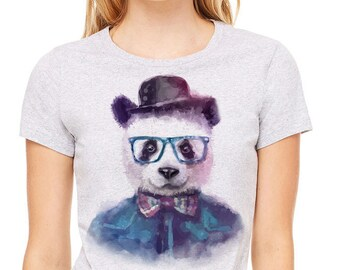 Colorful  image Hipster panda printed on a heather gray t-shirt, women's t-shirt, gray tee,panda with glasses, panda in a hat