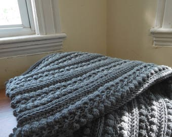 Cable Blanket: Grey