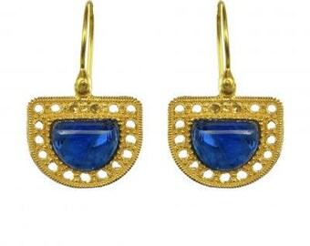 Silver 18K Yellow Gold Etruscan style crystal earrings