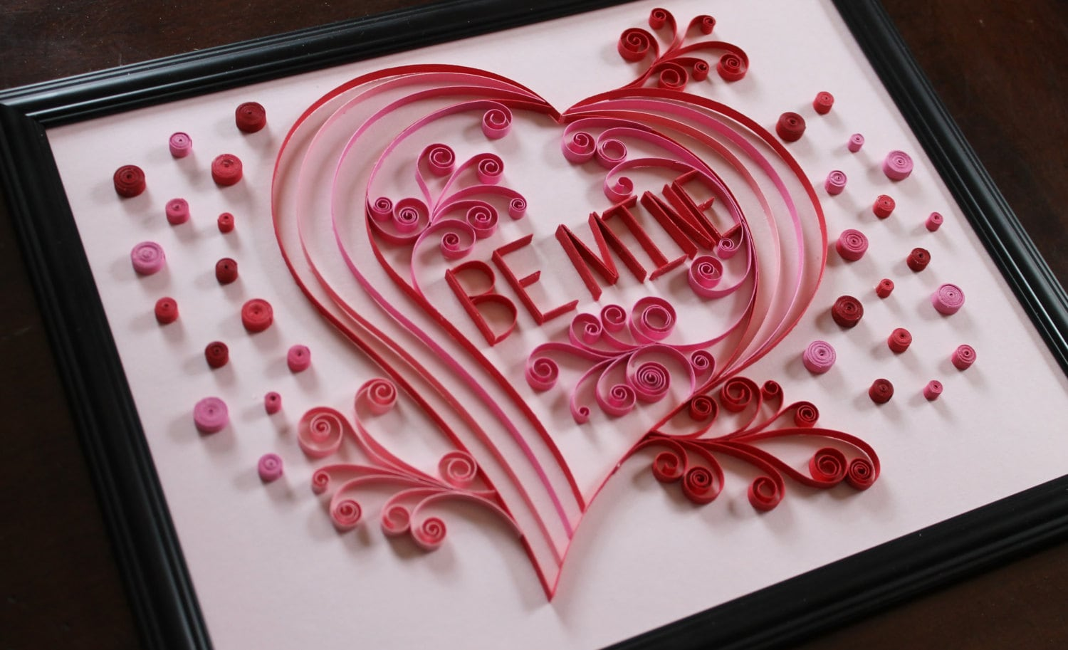 Paper Quilling Be Mine Valentine Heart OOAK Paper