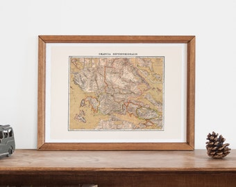 GREECE MAP -  Map of Greece,  Historical Greek Map, Antique Map Wall Art, Professional Reproduction