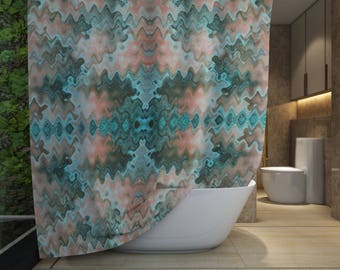 Fabric Shower Curtain South Western Wavy Desert Colours in Teal Green Peach and Taupe, Organic Shape Mosaic Mirror Pattern Home Decor
