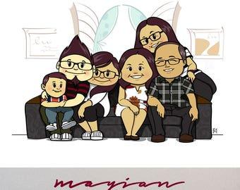 Custom Portrait Illustration • Printable • Digital Download Illustration • Illustration Valentines Gift • Cute Comic Caricatures