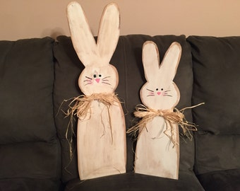 Set of 2 Wooden Easter Bunnies