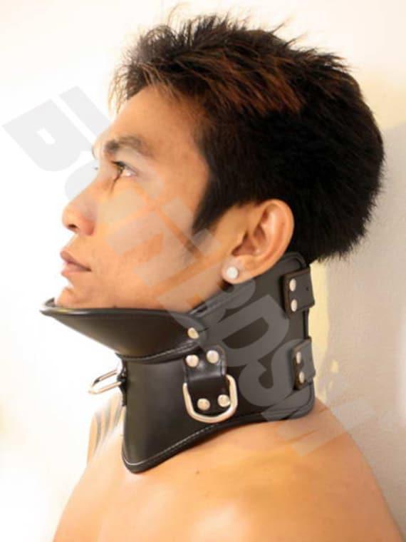 Bonbdsm - Bondage Restraint Strict Leather Posture Collar With 3 Strong D Rings -7192
