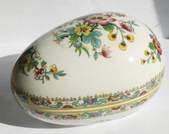 Coalport Ming Rose, England, Egg Shaped Trinket Box