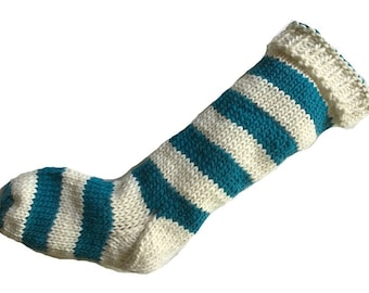 Hand Knit Christmas Stocking Hand Knit Natural White and Teal Blue Striped Santa Sock