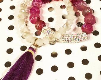 Clearance - Purple Sparkle Gemstone Bracelet Set