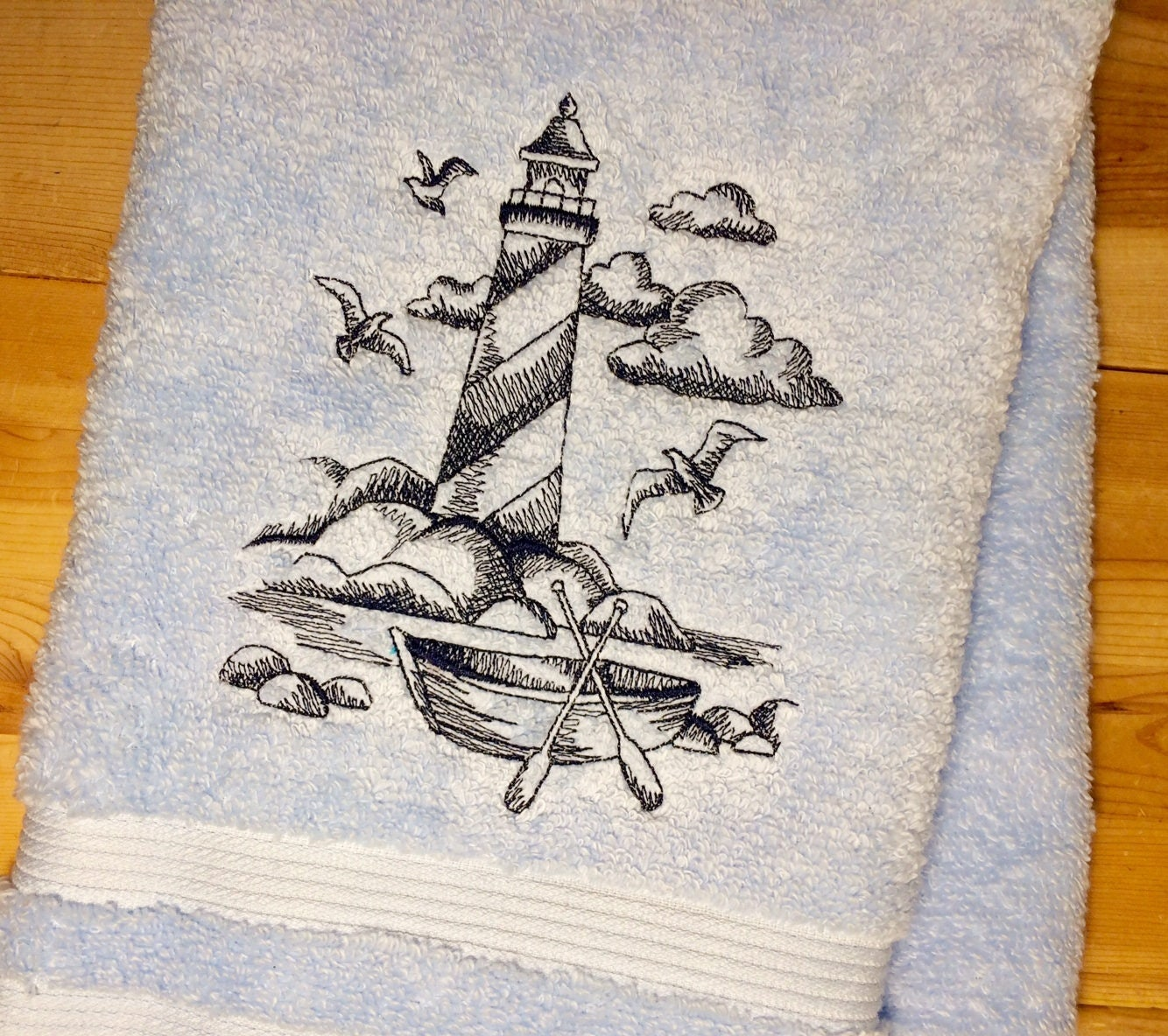 LIGHTHOUSE Towels ~ Embroidered Nautical Hand Bath U0026 Towel Sets~Beach  Bathroom Decor ~ Choose Your Colors!