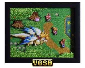 Secret of Mana Shadow Box - Flammie - SNES - Super Nintendo - 3D Shadow Box Glass Frame - 12x10 - Christmas Gift - Sprite Art