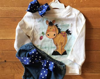 18 month hand painted shirt with denim bloomers.