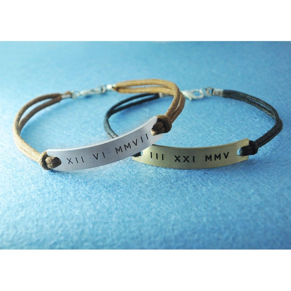 Custom Couples Bracelet Customized Roman Numeral Bracelet