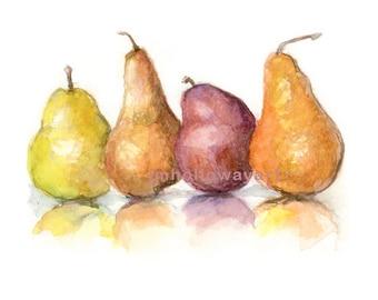 Art, Pears, Pears Print, Kitchen Art Print Pears, Fruit Print