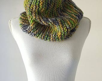 Chunky Hand Knitted Neck Warmer - Green Scarf - Loop Scarf - Skiing Accessories - Snowboarding Shawl - Snood -  Coriander And Turmeric  Cowl
