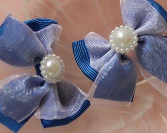 Blue organza bow