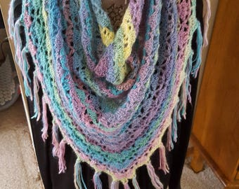 Accessories Shawls Scarves Wrap Neckwear Scowl Cowl Boho Scarf Triangle Shawl Long Scarf Fringe Multi-Color Mohair