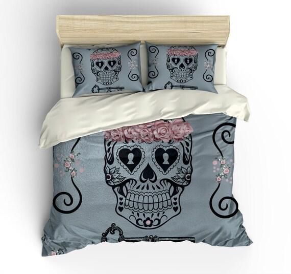 Skull Bedding Sugar Skulls Duvet Cover Set Gray Shimmer
