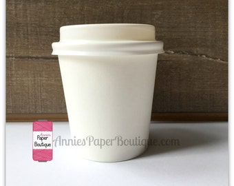 25 Mini Cups & Lids, 4 Ounce White, Treat, Coffee, Cocoa, Espresso, Ice Cream, Party Favor, Snack, Candy, Hot Chocolate, Portion, 4 oz Paper