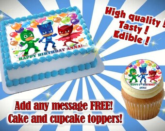 PJMASKS cake, cupcake & cookie toppers, edible print. Sugar sheet decoration party supplies.