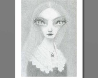 Witch Art Print, big eye art, pop surrealism, witch drawing, wicca art, lover's eye art, creepy cute art, cat art, cat eyes, lowbrow art