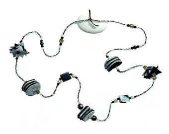 Felt necklace, Czech crystal and Nuuk resin Ref: CL 024