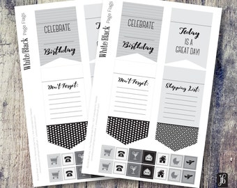 Page Flag Planner Stickers | Stickers for Planners | Black and White Decorative Page Flag Planner Stickers | Functional Stickers
