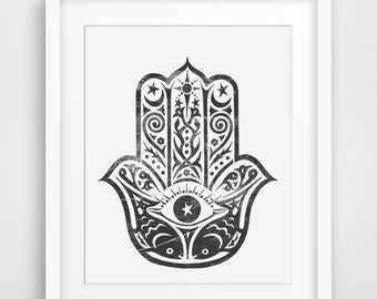 Hamsa Print, Namaste Wall Art, Black Hamsa Poster, Wall Print, Wall Prints, Bohemian Wall Decor, Indian Indie Home Decor, Fish, Eye. Hand